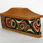 "Eagle Canoe Box  Size: 12"" x 5"" x 5 1/2""   Price: $ 2400.00 CAN   Hand carved and painted steam bent yellow cedar  Design meaning: Honor, Power, Leadership, Wisdom."