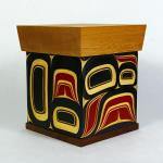 "Infinity Box  Size: 10 1/2"" x 9"" x 9""   Hand carved and painted  steam bent yellow cedar"