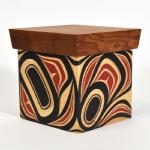 "Abstract Size: 7 3/4"" x 7"" x 7""  Carved and painted steam bent yellow cedar with red cedar lid"