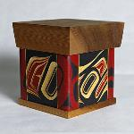 "Eagle  Size: 5"" x 4 1/4"" x 4 1/4""  Price: $ 500.00  Hand carved and painted steam bent yellow cedar box.  Design meaning: Honor, Power, Leadership, Wisdom."